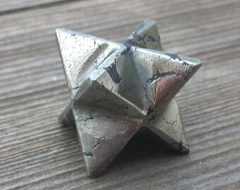 GEMSTONE MERKABA STAR Natural Pyrite (One)