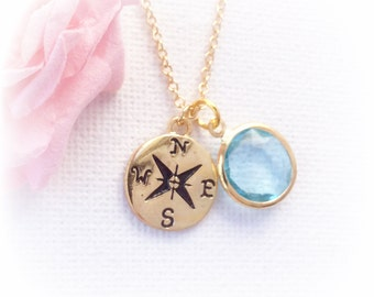 Gold compass, gold compass necklace, personalised compass, compass jewellery,birthstone necklace, travelling gift, bon voyage gift