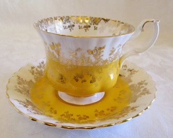 "Royal Albert Yellow ""Regal Series"" Bone China Cup and Saucer #4396- England"