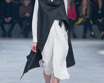 Black long designer vest / Long Light Asymmetrical Designer Vest / Loose Vest by DIDRESS