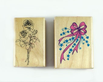 destash rubber stamps - Rose bouquet - festive streamers - vintage Hero Arts rubber stamp