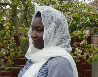 White Rectangle Head Covering Scarf