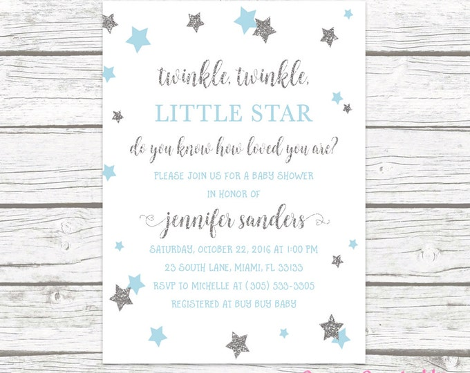 Twinkle Twinkle Little Star Baby Shower Invitation, Boy Baby Blue and Silver Glitter Invite, Printed or Printable Invitation