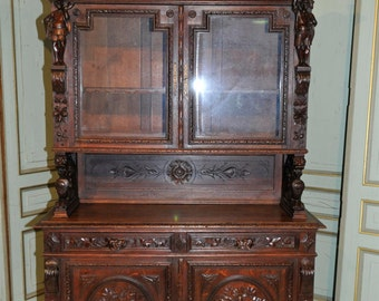 Antique French Oak Hunt Cabinet, Bookcase, Display Furniture, Wonderful Creative Carvings #6581