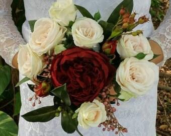 Bouquet Wedding Bridal or Bridesmaid Bouquet Silk Flowers Garden Roses