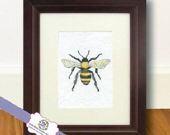 Bumble Bee or Honey Bee Fine Art Print of Original Watercolor Painting