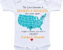 Personalized baby gifts state map Onesies Grandpa Onsie Grandpa and Grandson Onesies/Granddaughter gift Grandparent gifts Custom baby gifts