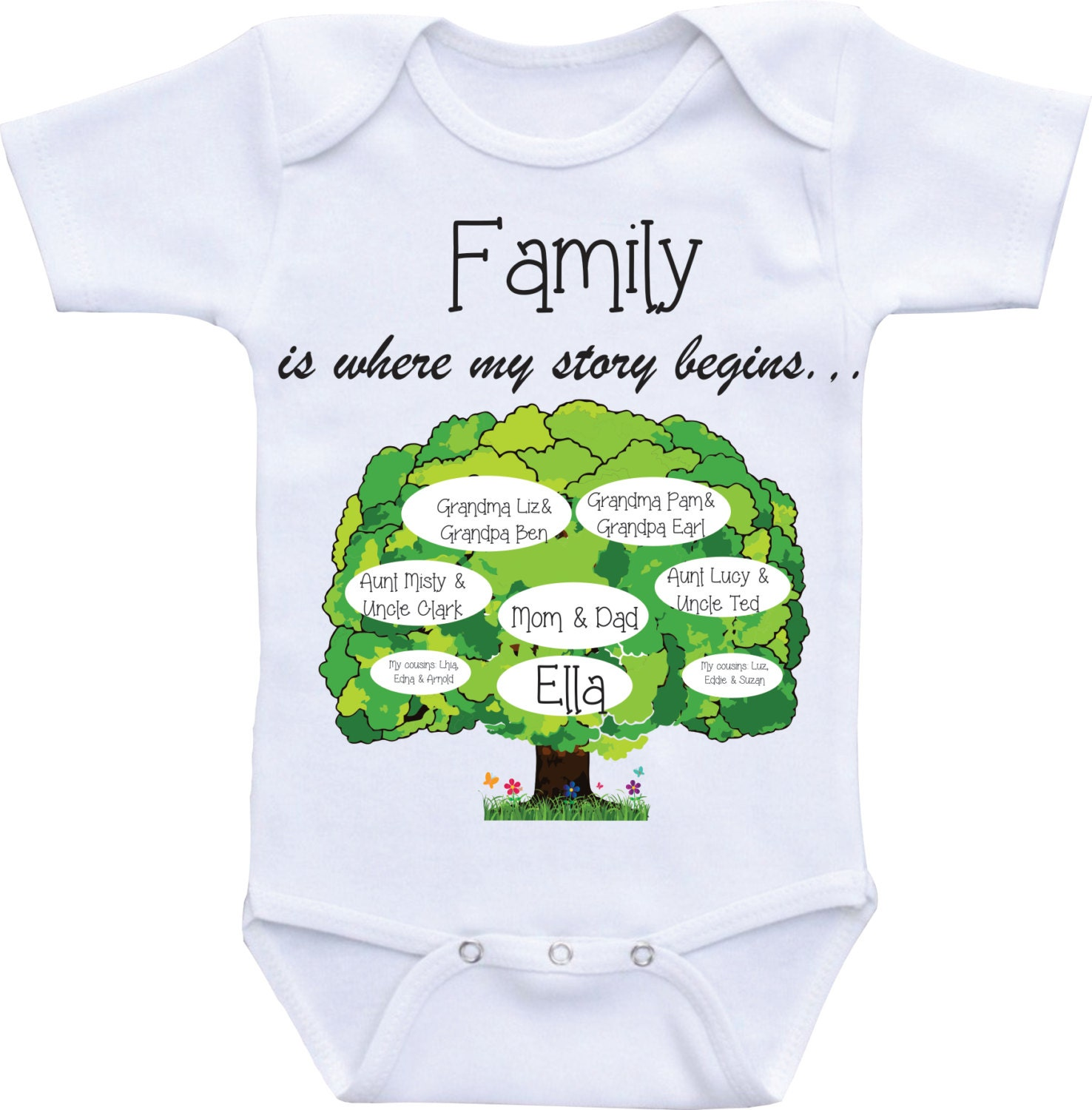 Personalized Baby Gift Ideas Boy : Family tree onesies unique baby onesie personalized custom