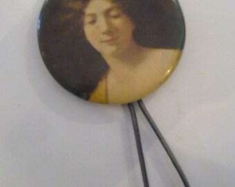Antique Portrait on Celluloid Hand Mirror Woman