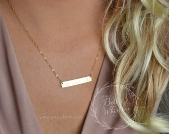 Personalized Bar Necklace, Gold Bar Necklace, Wedding date, Anniversary date, mom gift, bridesmaid gift, anniversary gift, custom necklace