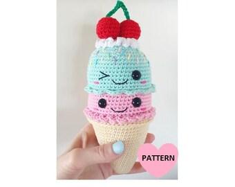 Big ICE CREAM cone - PDF Pattern, amigurumi, crochet