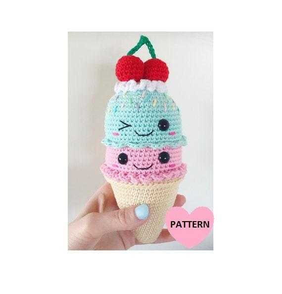 Amigurumi Ice Cream Tutorial : Big ICE CREAM cone PDF Pattern amigurumi crochet