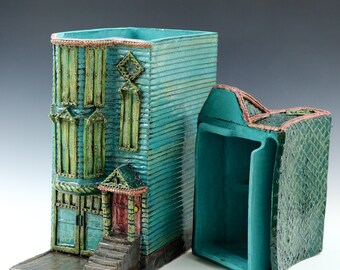 Cali Jade Row House // San Francisco Row House //Ceramic Sculpture // Architectural Sculpture// Canister // House // Row House // California