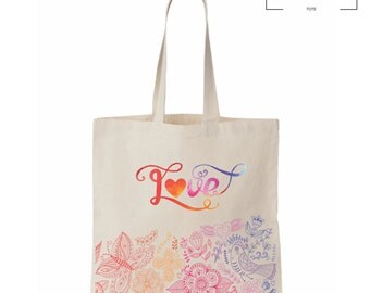 Abstract Love Tote - Canvas Bag - Grocery - Tote