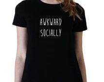AWKWARD SOCIALLY, Fangirl Shirt, Fashion Band T-Shirt, Fan Girl Shirt, 5sos, One Direction, Grey Junior Tshirt, Band Shirt, Tumblr