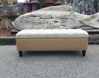 "48"" Linen and Burlap Bench Ottoman- Bed Bench- Custom Upholstery from Design 59 inc."