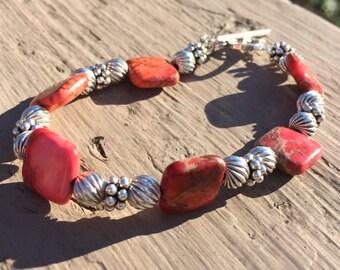 Coral Agate Bracelet Sterling Silver Bracelet Orange Bracelet