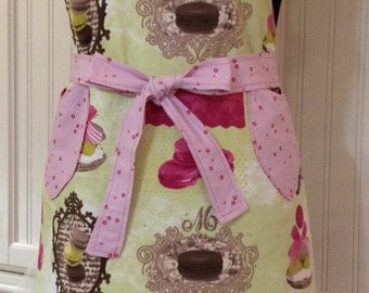 Chef style full Apron Lime Green Macaroons Reversible to Pink Red Dots