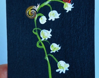 Sale aceo original acrylic painting mini art lilly-of-the-valley ladybug snail cute painting