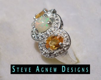 Opal and Yellow Sapphire Ring