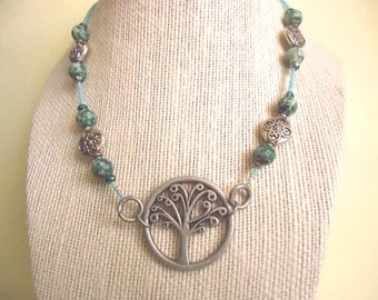 Sea Green & Silver Tree Of Life Statement Necklace With Natural Spotted Jasper, Sinox Crystal
