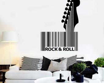 Wall Vinyl Music Guitar Rock Bar Code Guaranteed Quality Decal Mural Art