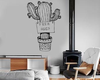 Wall Vinyl Cactus Floral Flower Funny Free Hugs Cool Decal Mural Art 1615dz
