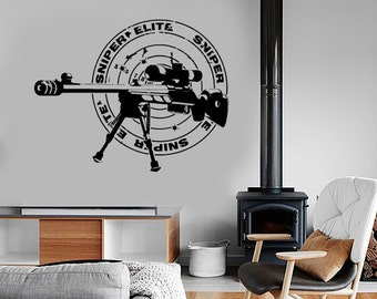 Wall Vinyl Sniper Rifle Army Forces War Guaranteed Quality Decal Mural Art 1637dz