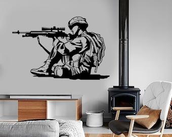Wall Vinyl Marine Soldier Rifle Guaranteed Quality Decal Mural Art 1649dz