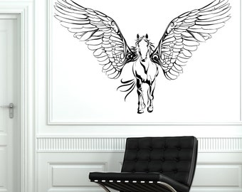 Wall Vinyl Horse Wings Pegasus Mustang Mural Vinyl Decal Sticker 1779dz