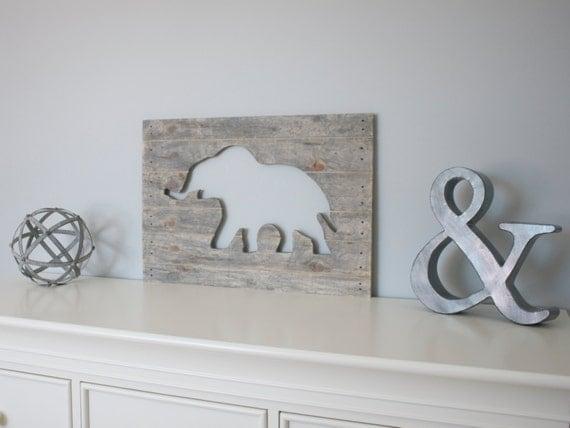 Items Similar To Elephant Wood Cutout Wall Art Animal