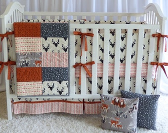 Off White Antlers Crib Set , quilt, modern bedding, crib bedding, fawn, stag, deer, bear, raccoon, woodland, baby boy, buck