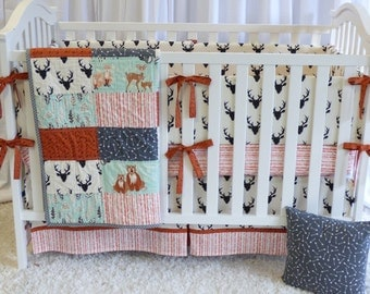 Antlers Crib Set , quilt, modern bedding, crib bedding, fawn, stag, deer, bear, raccoon, woodland, baby boy, gender n