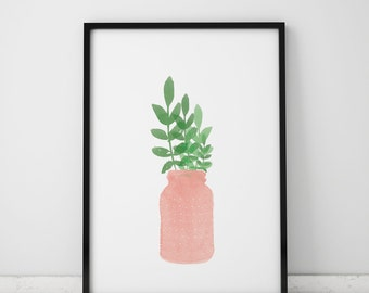 Watercolor Plant INSTANT DOWNLOAD Print, Watercolor Printables, Pink Vase, Watercolor Printable, Plant Art, Gallery Wall Printable