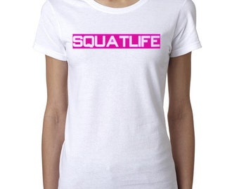 Squat Life screen printed white t-shirt with magenta lettering (Medium)