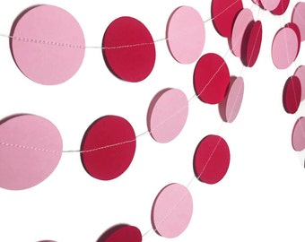 Party Decorations - Valentine's Day Decorations -  Valentine's Day Garland - Red and Pink Circle Garland - Birthday Party Decor - 10 Feet