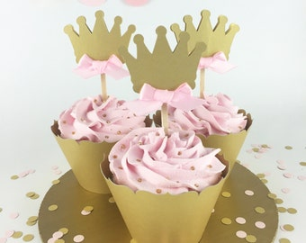 Party Decorations - First Birthday - Birthday Cupcake Toppers - Princess First Birthday - Gold and Pink Crown Cupcake Topper - Set of 12