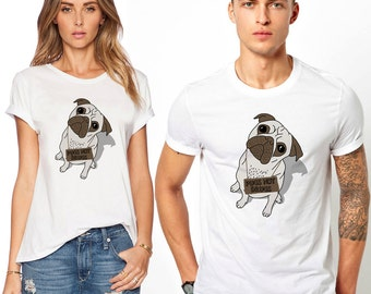 Cute Pug Dog T Shirt Pugs Not Drugs Funny Hipster Puppy