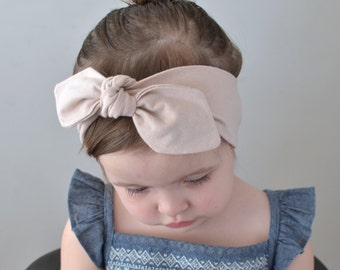 Knotted Bow Headband, nude, Baby Turban, Baby Headwrap, Child's Turban, Toddler Headwrap, Adult Turban