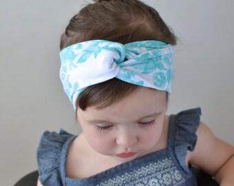 Blue Floral Turban Headband , Baby Turban Headwrap, Girl's Turban,  Adult Turban Headband, Twisted Headband