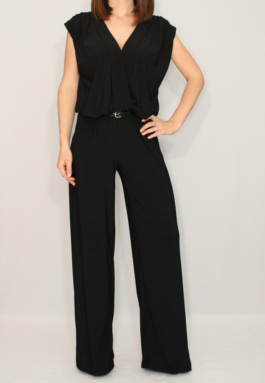 Black Jumpsuit Sleeveless Jumpsuits Women Wrap Top By Dresslike