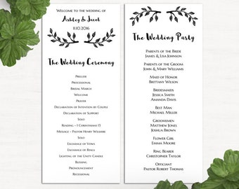 Simple wedding program template – Etsy