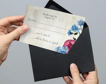 Floral rsvp cards printable Wedding response card Flowers rsvp wedding cards Instant download Response card printable Rsvp template 1W25
