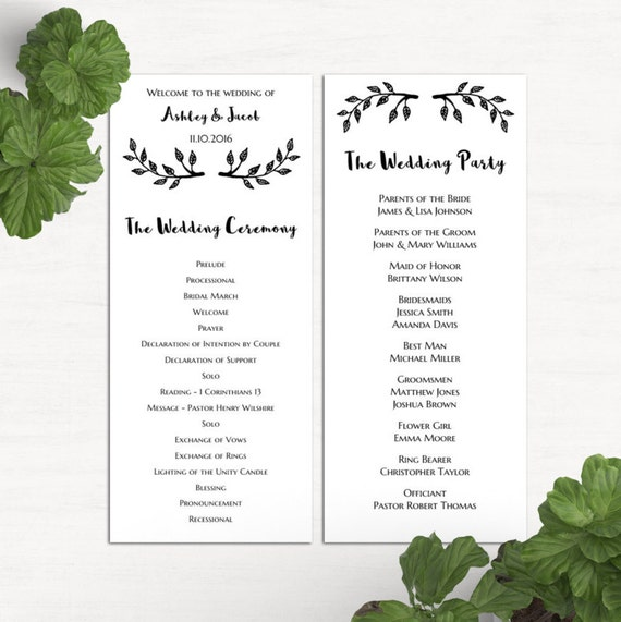 Simple Wedding Program Template Black And White Ceremony
