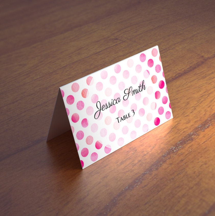 Pink wedding name cards template Polka dot table cards Wedding