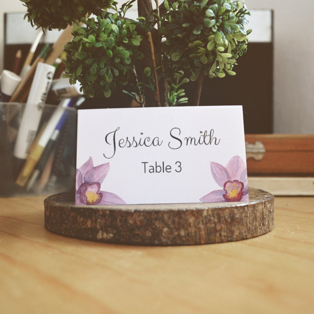 Hawaii wedding place cards Orchid wedding name cards Beach wedding ...
