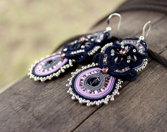Best gift|for|her Navy blue earrings Soutache Dark blue dangle earrings Purple earrings Boho Embroidered jewelry Violet seed bead earrings