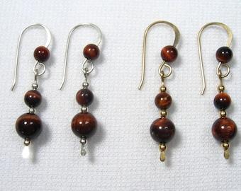 Lyn's Jewelry Red Tigers Eye Drop Earrings Silver or Gold