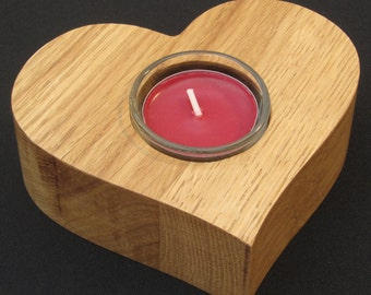 Valentine's heart tea light holder of solid oak. Free shipping to UK