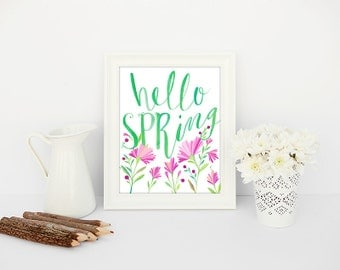 Hello Spring Printable Art | Spring Wall Decor Instant Download Spring Print | Spring Flowers Quote Printable | Spring Typography Wall Art